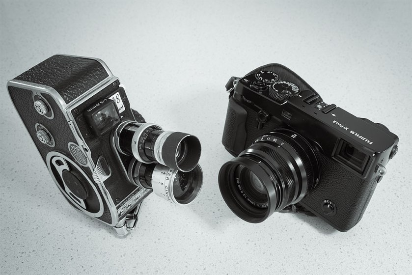 About the same size: Paillard Bolex 8mm OVF movie camera and Fujifilm X-Pro2 APS-C Super 35mm movie-cum-stills camera.