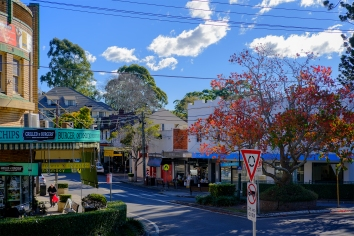 It may be early winter now but when the sun is out it looks and feels like early to mid-autumn in the northern Sydney suburb where we live and work. I used the Velvia film simulation in Adobe Camera Raw CC2015 to get as close to what i saw that day from inside the restaurant where we were having lunch with a friend. I spotted this rarely empty high street, dashed out in time to capture walkers both sides of the street and there it is.