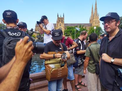 Peak Design Everyday Messenger 15 in Heritage Tan, at the People with Cameras event in Hyde Park, Sydney.