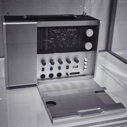The Braun Station T1000 Multiband Portable Radio, a classic radio design amply embodying Dieter Rams' 10 principles of good design. This radio is in the collection of the Powerhouse Museum in Sydney.