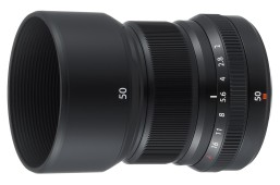 "Fujinon XF 50mm f/2.0 WR R ""Fujicron"" prime lens, equivalent to 75mm in the 35mm sensor format."