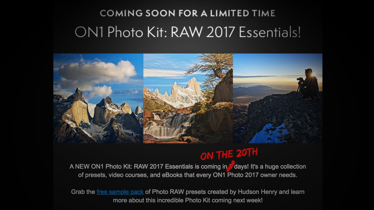 ON1 Photo Raw 2017 Updated, Improved Fujifilm Raw Support, ON1 Photo Kit: Raw 2017 Essentials Now Available atDiscount