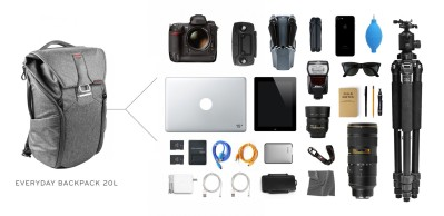 Full photographic gear carrying capacity of the 20-litre Peak Design Everyday Backpack.