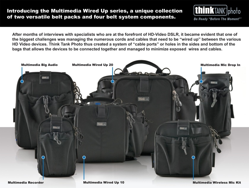 A selection of bags from Think Tank Photo's innovative, pioneering Multimedia Wired Up Collection, now sadly long discontinued. If it had continued to evolve through the mirrorless hybrid camera era this bag design would have been a force to contend with in stills and video production. I collected the complete set and have them in storage.