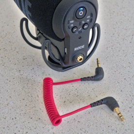 Any 3.5mm TRS cable can be used with the VideoMic Pro+ including this red coiled cable that is included with several other Røde mics such as the VideoMic GO, VideoMicro and the Stereo VideoMic X.