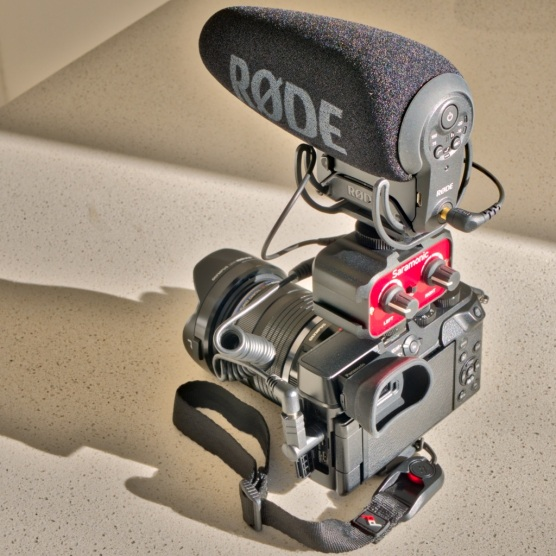 The Røde VideoMic Pro+ mounted on a Panasonic Lumix GX8 via a Saramonic passive mixer. Mixers like this are made by Beachtek and rebranded by Kopul. They provide a way of mounting up to three microphones and outputting one stereo or two mono signals to the camera's audio input jack. They also help get the microphones out of the way a little.
