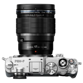The M.Zuiko Pro 17mm f/1.2 on an Olympus Pen-F, probably not much larger or heavier than, say, the popular 12-40mm f/2.8 zoom lens.