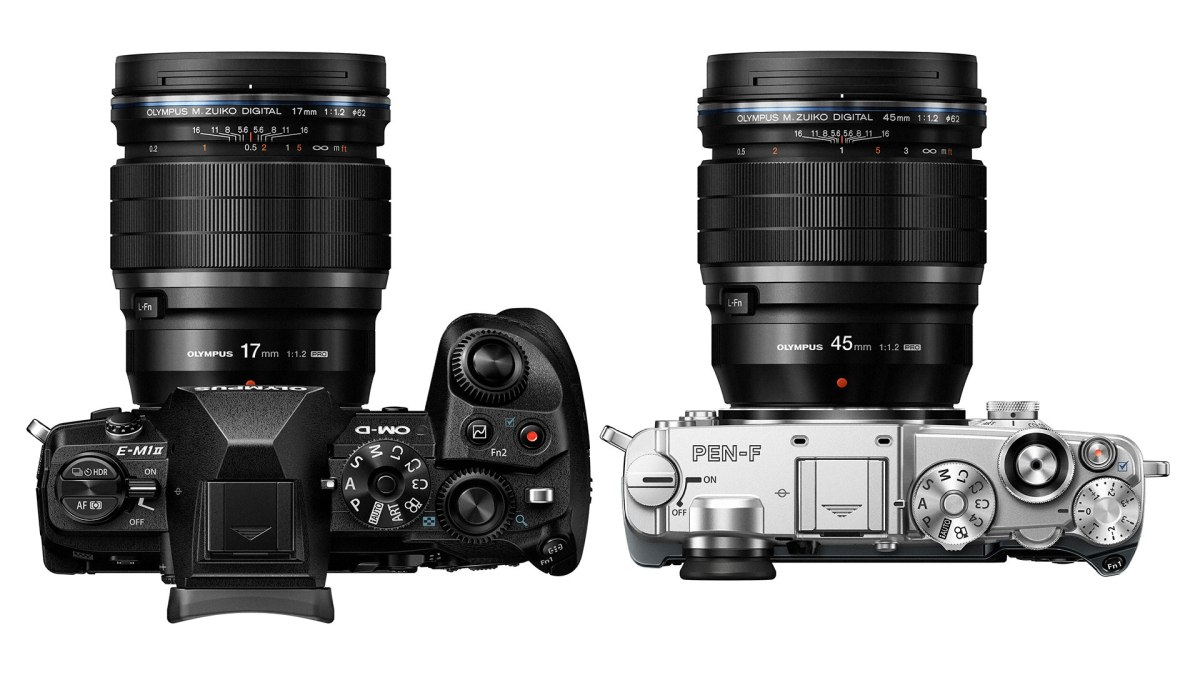 Mirrorless Comparison Compares Olympus M.Zuiko Pro 17mm and 45mm f/1.2 with Olympus M.Zuiko 17mm and 45mm f/1.8 Primes