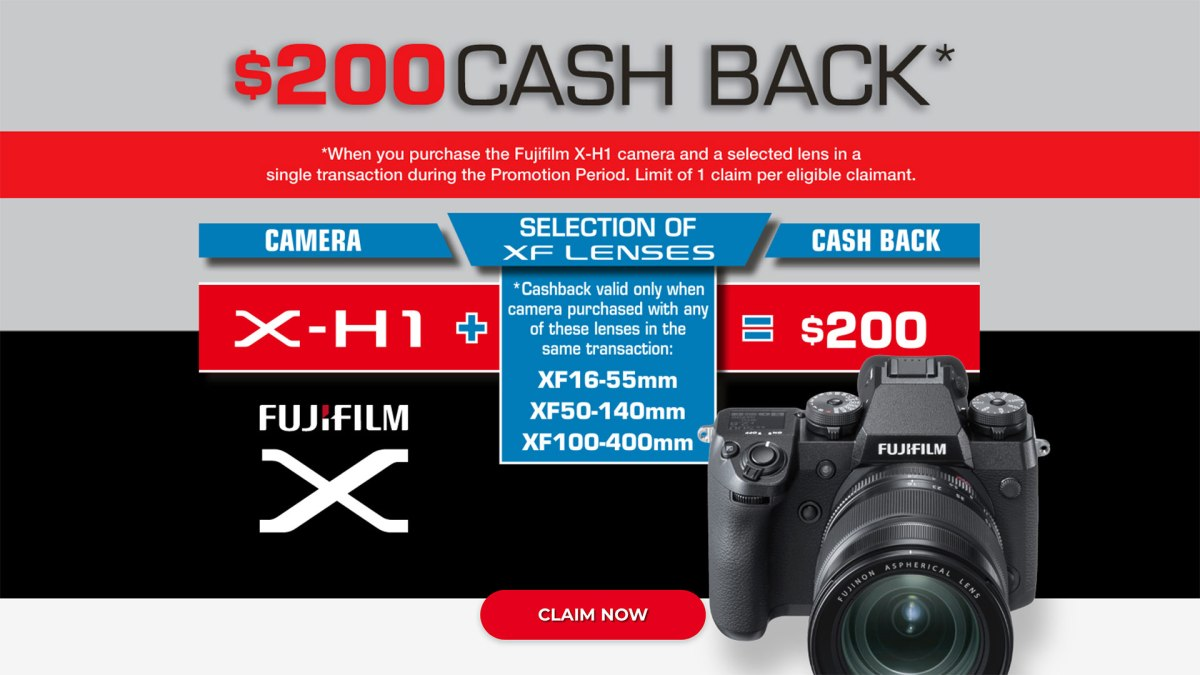 Fujifilm Australia Red Badge Cash Back Promotion for X-H1 and Choice of Three Fujinon Red Badge Pro Zoom Lenses, 1st March to 30th April 2018