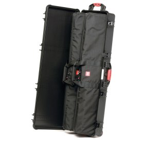 HPRC HPRC5400W long rectangular wheeled case for tripods or light stands can subdivide items via two optional internal bags.