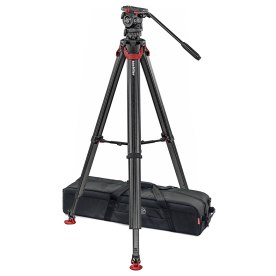 Sachtler System FSB 4 Fluid Head with Sideload Plate, Flowtech 75 Carbon Fiber Tripod with Mid-Level Spreader and Rubber Feet.