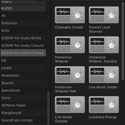 EOSHD Pro Audio presets in Final Cut Pro X