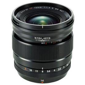 Fujinon XF 16mm f/1.4 R WR prime lens with manual clutch focus, equivalent to 24mm in the 35mm sensor format.