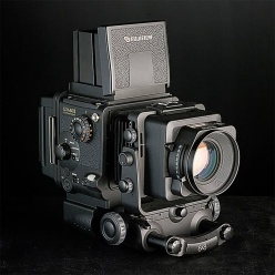 Fujifilm GX680 II 6cm x 8cm format 120 roll-film camera, like a cross between a view camera with camera movements and a waist-level twin lens reflex camera, lovely for portraits and product shots. Photograph courtesy of Cambo.