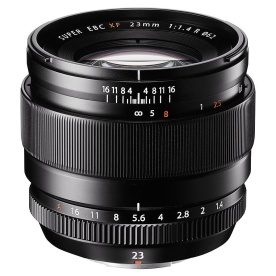 Fujinon XF 23mm f/1.4 R WR prime lens with manual clutch focus, equivalent to 35mm in the 35mm sensor format.