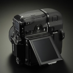 Fujifilm GFX 50S medium format digital camera with Fujifilm VG-GFX1 Vertical Battery Grip and tilting LCD monitor.