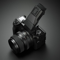 Fujifilm GFX 50S medium format digital camera with Fujifilm EVF-TL1 EVF Tilt Adapter.