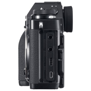 Fujifilm X-T3: microphone port, head[hone port, USB-C port for charging, powering and data transfer, and micro-HDMI port for external monitor/recorder or for connecting to a display or television set. Best of all the door is removable for better access!