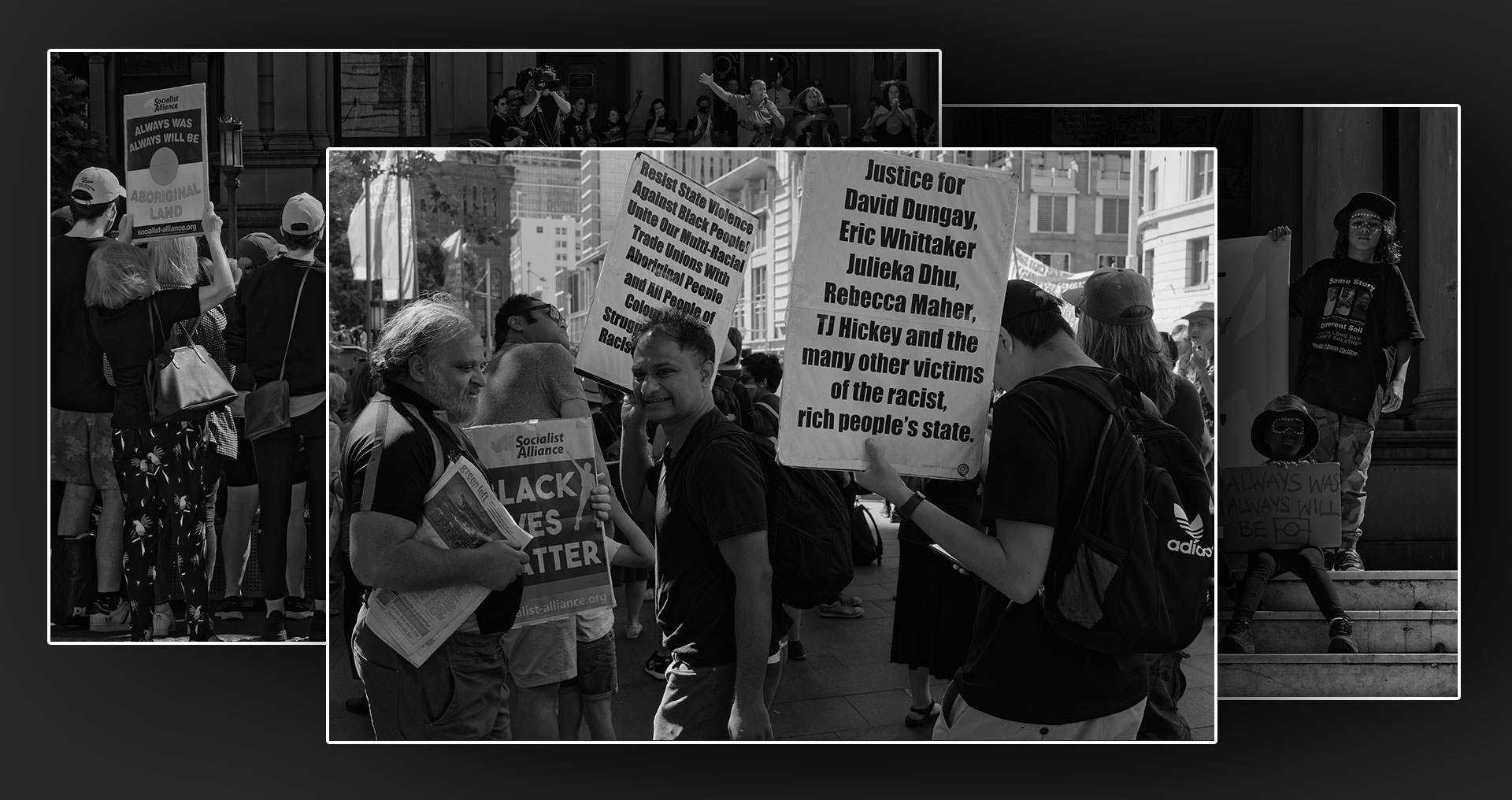Header for National Day of Action: Stop Black Deaths in Custody at Sydney Town Hall on April 10, 2021.